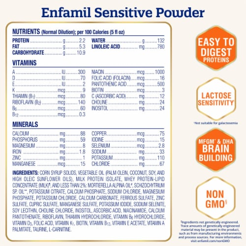 Enfamil NeuroPro Sensitive Infant Powder Formula Perspective: left
