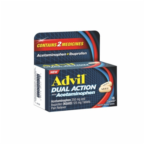 Advil Dual Action Acetaminophen & Ibuprofen Pain Relieving Caplets Perspective: left