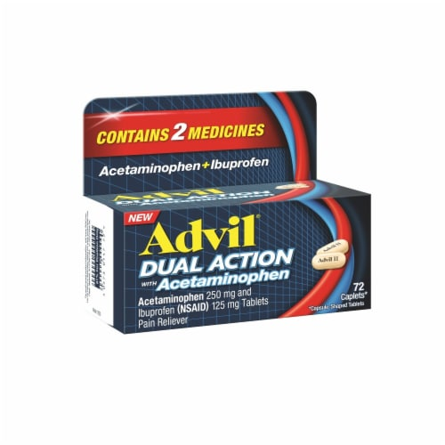 Advil Dual Action Acetaminophen & Ibuprofen Pain Relieving Caplets 36 Count Perspective: left