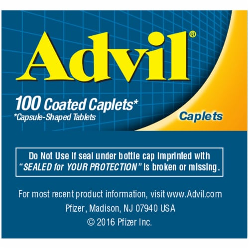 Advil Ibuprofen Coated Tablets 200mg Perspective: left