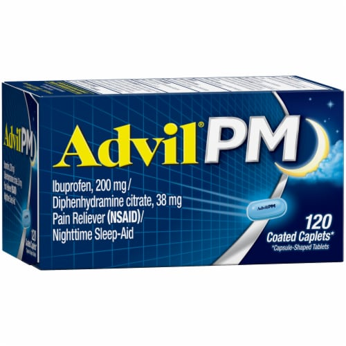 Advil PM Pain Reliever & Nighttime Sleep-Aid Coated Caplets Perspective: left