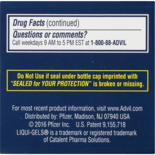 Advil PM Liqui-Gels Pain Reliever/Nighttime Sleep Aid Liquid Filled Capsules 200mg Perspective: left