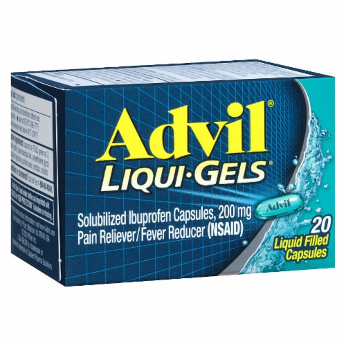 Advil Pain Reliever/Fever Reducer Ibuprofen Liquid Filled Capsules 200mg Perspective: left
