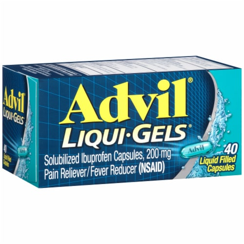 Advil Liqui-Gels Pain Reliever/Fever Reducer Liquid Filled Capsules 200mg Perspective: left