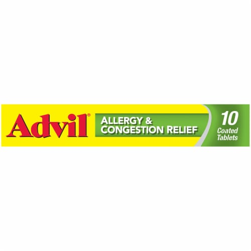 Advil Allergy & Congestion Relief Coated Tablets Perspective: left