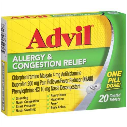 Advil Allergy & Congestion Relief Coated Tablets 200mg Perspective: left