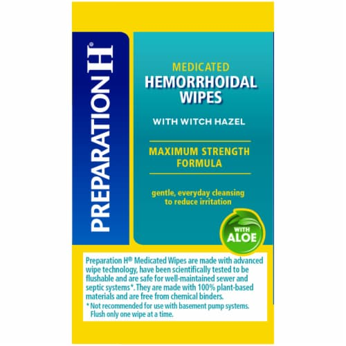 Preparation H Totables Flushable Medicated Hemorrhoidal Wipes Perspective: left