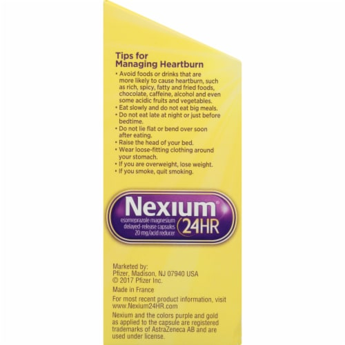 Nexium 24-Hour Delayed Release Heartburn Relief Capsules Perspective: left