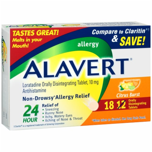 Alavert Citrus Burst Non-Drowsy Allergy Relief Orally Disintegrating Tablets Perspective: left