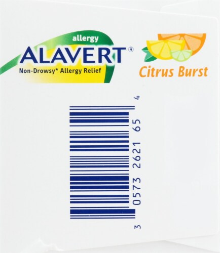 Alavert 24-Hour Non-Drowsy Allergy Relief Citrus Burst Orally Disintegrating Tablets Perspective: left