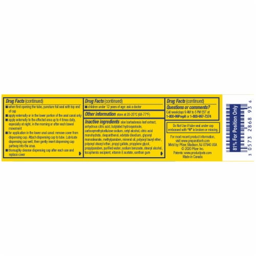 Preparation H Multi-Symptom Pain Relief Hemorrhoidal Cream with Aloe Perspective: left