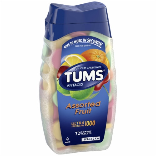 Tums Assorted Fruit Ultra Strength Chewable Antacid Chewable Tablets Perspective: left