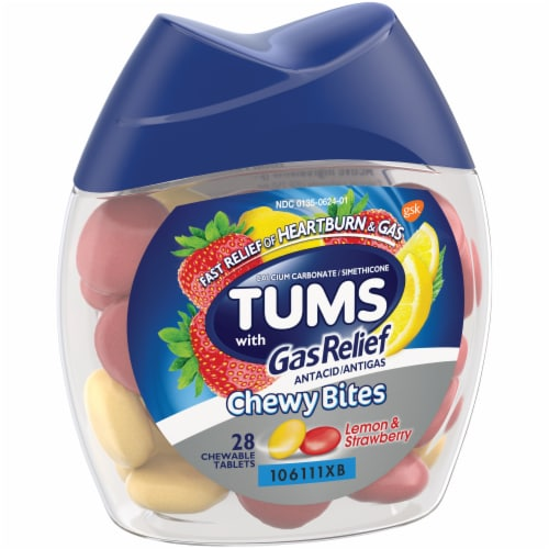 Tums with Gas Relief Lemon & Strawberry Chewy Bites Antacid Chewable Tablets Perspective: left