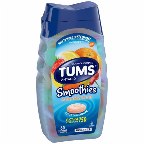 Tums Smoothies Assorted Fruit Extra Strength Antacid Chewable Tablets Perspective: left