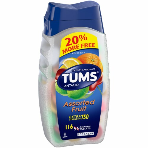 Tums Extra Strength Assorted Fruit Antacid Chewable Tablets Perspective: left
