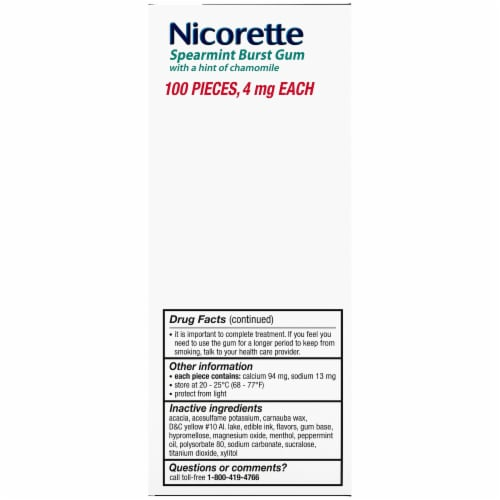 Nicorette Spearmint Burst Nicotine Gum 4mg Perspective: left