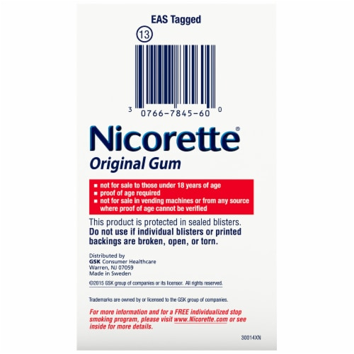 Nicorette Smoking Cessation Original Gum 2mg 170 Count Perspective: left