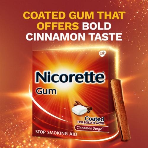 Nicorette Smoking Cessation Cinnamon Surge Nicotine Gum 4mg Perspective: left