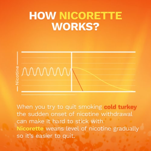 Nicorette Smoking Cessation Fruit Chill Nicotine Gum 2mg Perspective: left