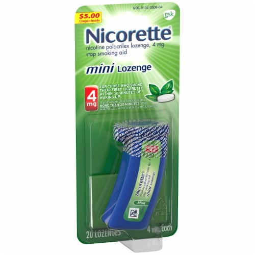 Nicorette Mint Mini Nicotine Lozenges 4mg Perspective: left