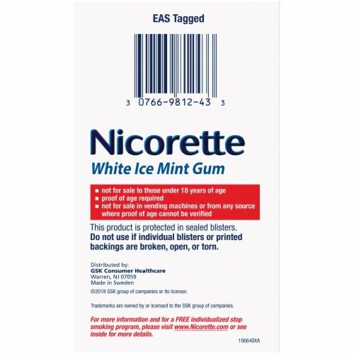Nicorette White Ice Mint Nicotine Gum 4mg Perspective: left