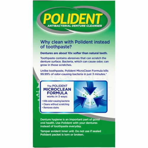 Polident Partials Antibacterial Denture Cleanser Tablets Perspective: left