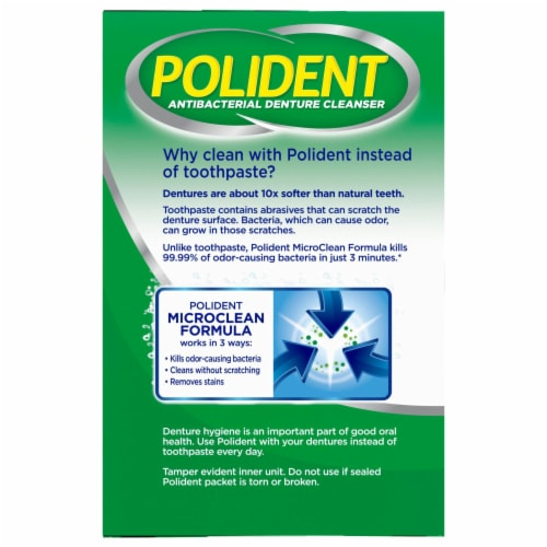 Polident Overnight Whitening Denture Cleanser Tablets Perspective: left