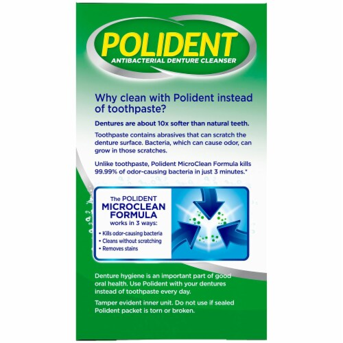 Polident 3 Minute Triple Mint Denture Cleanser Tablets Perspective: left