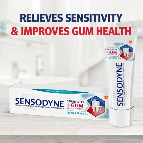 Sensodyne Sensitivity and Gum Clean and Fresh Toothpaste Perspective: left
