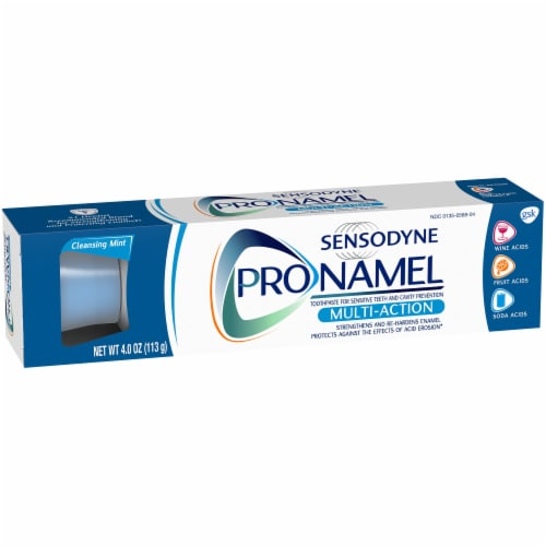 Sensodyne Pronamel Multi-Action Cleansing Mint Sensitivity Toothpaste Perspective: left