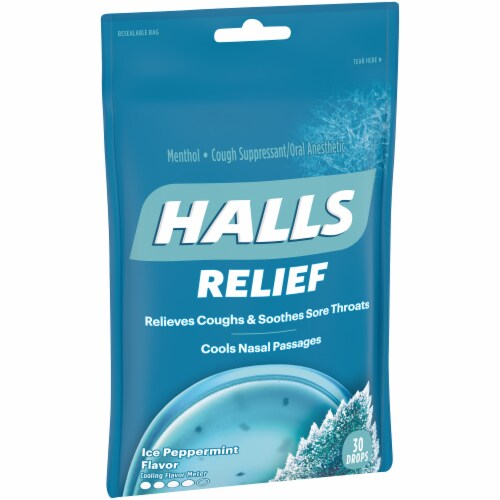 HALLS Relief Ice Peppermint Flavored Menthol Cough Drops 30 Count Perspective: left