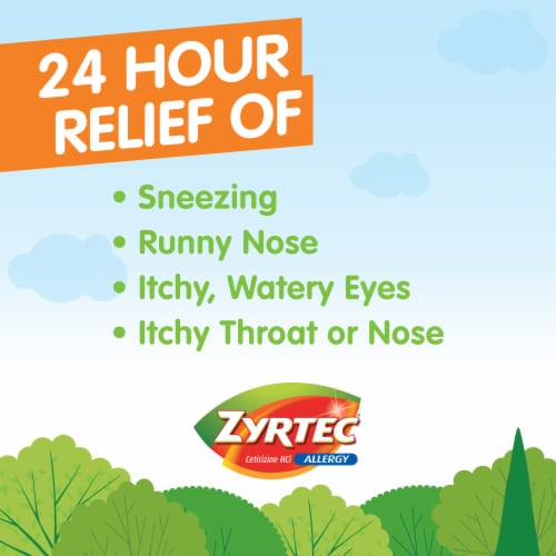 Zyrtec 24-Hour Allergy Relief 10mg Tablets Perspective: left