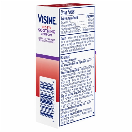 Visine Maximum Strength Redness Relief Lubricant / Redness Reliever Eye Drops Perspective: left