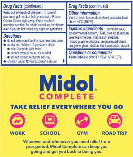 Midol Complete Multi-Symptom Relief Caplets Perspective: left
