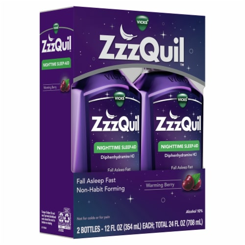 Vicks ZzzQuil Warming Berry Flavor Nighttime Sleep-Aid Liquid Perspective: left