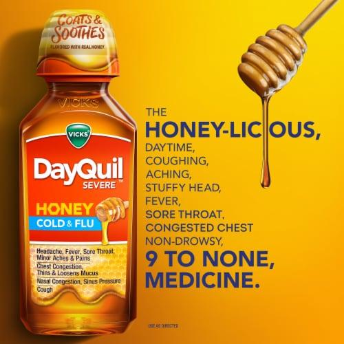Vicks DayQuil SEVERE Honey Cold & Flu Multi-symptom Daytime Relief Medicine Max Strength Liquid Perspective: left