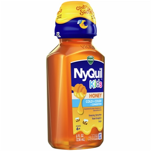 NyQuil Kids Honey Cold & Cough + Congestion Nighttime Relief Liquid Perspective: left