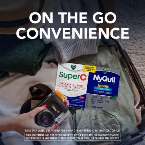 Vicks® NyQuil™ & SuperC Cold & Flu Multi-Symptom Relief Caplets/Liquicaps Perspective: left
