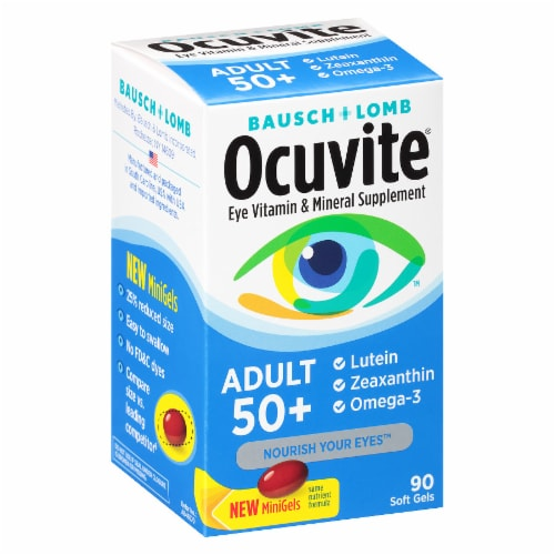 Ocuvite Adult 50+ Eye Vitamin & Mineral Supplement Mini Gels Perspective: left