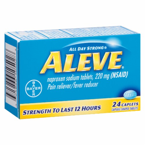 Aleve Naproxen Sodium Pain Reliever/Fever Reducer 220mg Caplets Perspective: left