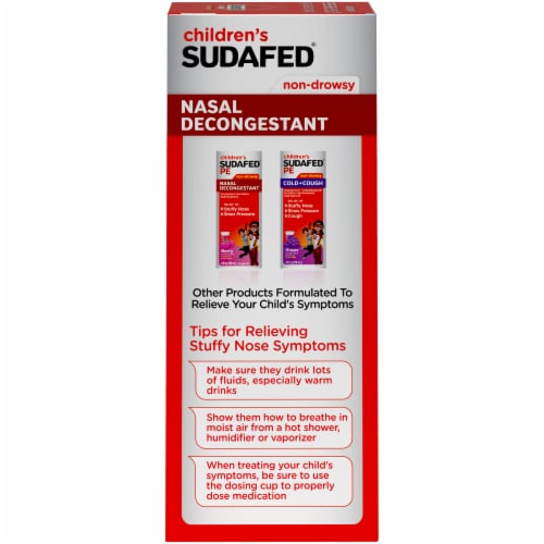 Children's Sudafed Non-Drowsy Nasal Decongestant Grape Flavored Liquid Perspective: left