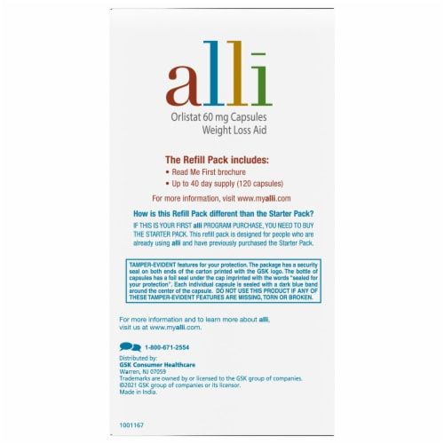 Alli Weight Loss Aid Capsules Refill Pack Perspective: left
