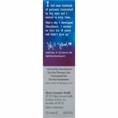 Thera Tears Extra Dry Eye Therapy Lubricant Eye Drops Perspective: left