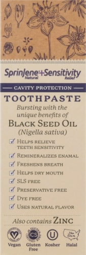 Sprinjene® Natural Sensitivity Relief Cavity Protection Toothpaste with Black Seed Oil & Zinc Perspective: left