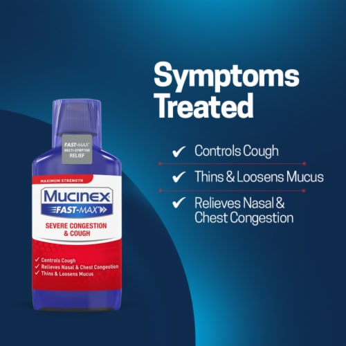 Mucinex Fast-Max Severe Congestion and Cough Multi-Symptom Relief Liquid Medicine Perspective: left