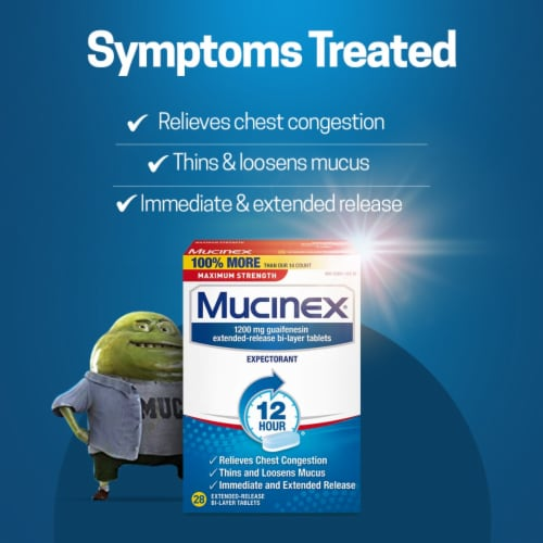 Mucinex Maximum Strength 12 Hour Chest Congestion Expectorant Relief Medicine 1200mg Tablets Perspective: left