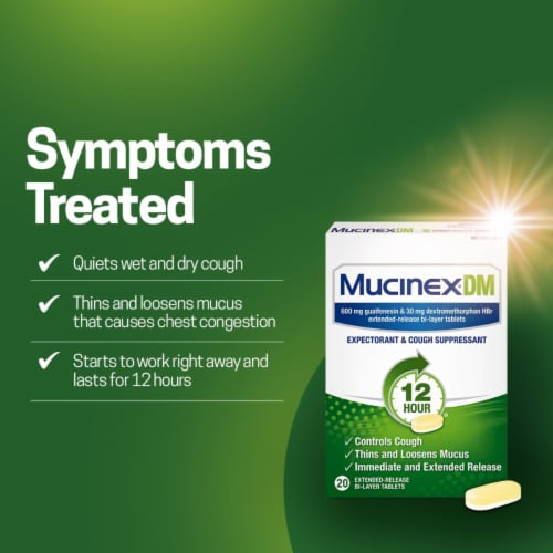 Mucinex® DM Expectorant and Cough Suppressant Medicine Extended Release Bi-Layer Tablets Perspective: left