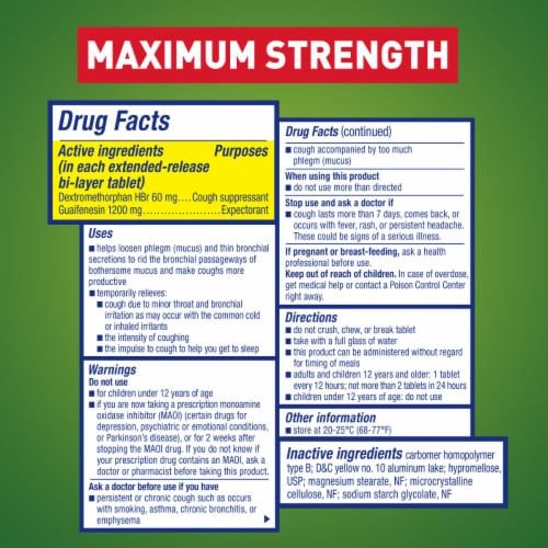 Mucinex DM Maximum Strength 12-Hour Expectorant and Cough Suppressant Medicine Bi-Layer Tablets Perspective: left