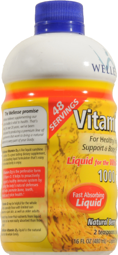 Wellesse Vitamin D3 1000iu Liquid Supplement Perspective: left