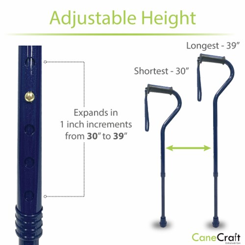Offset Handle Walking Cane with Soft Rubber Grip - Dark Blue Perspective: left